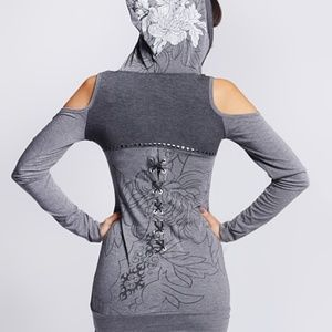 So Nice Collection Dresses - Gray Tena Hooded Cutout Dress Top